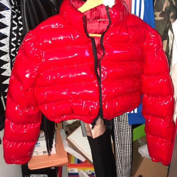 good quality new items autumn shoes red cropped bubble coat
